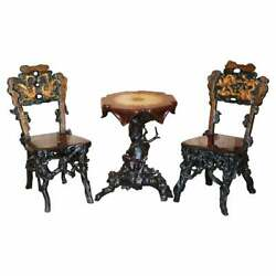 Antique Chinese Export 1920and039s Root Wood Carved Gilt Occasional Chairs And Table