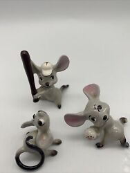 Vintage Mini small Figurines Mouse Mice Playing Baseball with bat and ball Japan