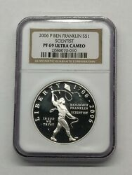 2006 P Proof Comemmorative Coin Ben Franklin Scientist Ngc Pf 69 Ultra Cameo