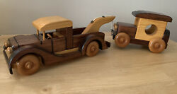 Vintage Wooden Toy Tow Truck And Car Set Handcrafted By Ray Williams