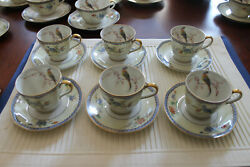 Haviland Limoges 6 Demi Cups And Saucers 1229a Bird Of Paradise Chambord