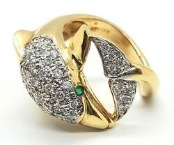14kt Yellow Gold 1.00 Tcw Diamond 💎and Emerald Dolphin 🐬ring 060721