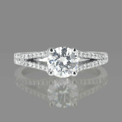 1 1/4 Ct Anneau Fianandccedilailles Diamant Rond Coupe D / Si1 14k Or Rose Taille 7