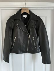 Reiss Womens Black Gio Biker Leather Uk 10 Nwt Rrp Andpound375