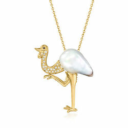 Vintage 25mm Cultured South Sea Pearl Bird Necklace With Diamonds And Sapphire