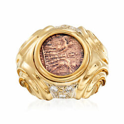 Vintage Diamond And Copper Greek Coin Ring In 14kt Gold Size 7