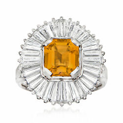 Vintage Citrine Ring With Diamonds In Platinum Size 6