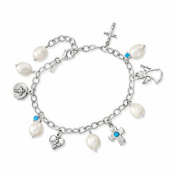 Opal And 8-8.5mm Cultured Pearl And Religious Charm Bracelet In Sterling Silver