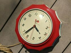 C. 1947 Post War General Electric And039new Hostessand039 2h02 Red Kitchen Wall Clock