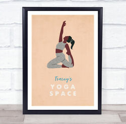 Arm Up Knees Bent Yoga Gym Space Room Personalised Wall Art Sign