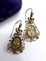 Antique Victorian Marked 14k Gold And Mini Turquoise Dangle Hoop Earrings 785