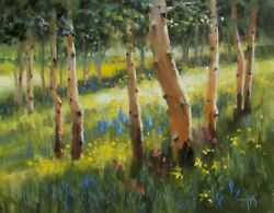 Tom Haas Painting And039aspen Gladeand039 Oil 11x14 Colorado Realism Forest Wild Flowers