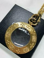 Magnifying Glass Pendant Necklace Vintage Rare _60195