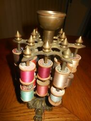 Vintage Antique Brass Spool Holder / 24 Spools /brass Cup At Top For Pin Cushion