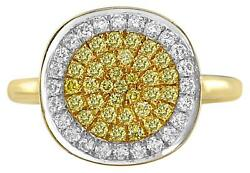 .62ct White And Fancy Yellow Diamond 18kt 2 Tone Gold Cluster Pave Round Fun Ring