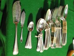 Silver Plated Flatware Antique English, Bead Pattern, Great Condition 1860