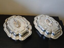 Silver Plated Entree Dishes Antique English Marked 1850 Cast Handles Stylish