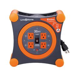 35 Ft. 14/3 Extension Cord Storage Reel With 4 Grounded Outlets And Surge Protec
