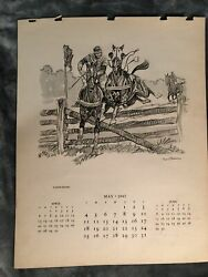 Paul Brown Calendar May 1947 #x27;Horse Racing#x27; for Brooks Brothers