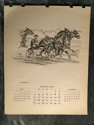 Paul Brown Calendar August 1947 #x27;Harness Racing#x27; for Brooks Brothers
