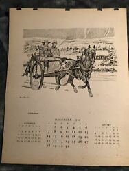 Paul Brown Calendar December 1947 #x27;winter ride#x27; for Brooks Brothers