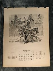 Paul Brown Calendar March 1947 #x27;Horse Race#x27; for Brooks Brothers