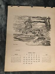 Paul Brown Calendar April 1947 #x27;Fly Fishing#x27; for Brooks Brothers