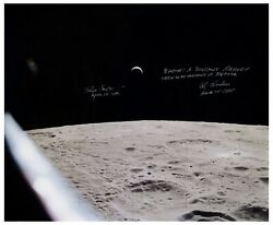 Al Worden + Dave Scott Signed 20and039and039 X 16and039and039 Photo Of Moon