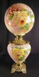 1890's Phoenix Yellow And Red Roses Kerosene Oil Gwtw Or Parlor Lamp Antique