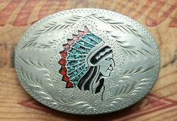 Vintage Hand Made Turquoise Coral Indian Chief Inlay Western Belt Buckle