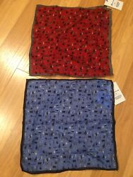 2 Nwt Peter Millar Pocket Square Menand039s Tailgate Print Msrp 59 Each Red Blue