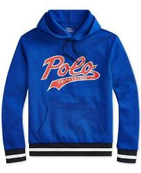 Polo Menand039s Double-knit Graphic Hoodie Blue Large - New - 148 Msrp