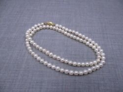 Vintage 14k Yellow Gold Cultured Pearl 4mm-5mm Bead 18 Strand Necklace 42