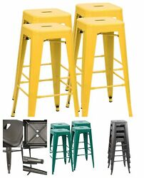 30 Inches 4 Metal Bar Stools Stackable High Backless Lightweight Rubber Feet