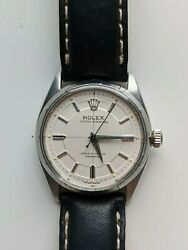 Rolex Oyster Perpetual 6565 34mm 1950and039s Sector Dial Vintage Watch
