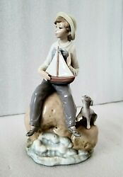 Lladro 5166 Boy With Boat Porcelain Figure Dog Discontinued Spain