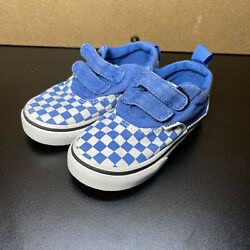 TODDLER VANS OFF THE WALL BLUE amp; WHITE CHECKERED SNEAKERS SIZE 7 EUC USA Seller