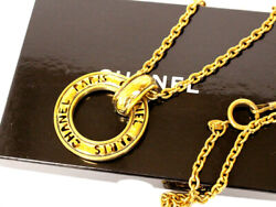 Long Necklace Hoop Gold Chain Ring Logo Vintage Deca Rare With Box _60647