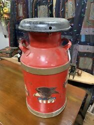 Vintage Red Painted Dairy Milk Can W/ Eagles- 10802