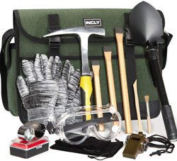 Geology Rock Pick Hammer Kit 3 Digging Chisels For Hounding Gold Mining 15 Piece