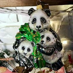 Jay Strongwater Mother And Baby Panda Christmas Ornament - Retired Nib -last One