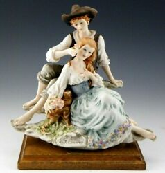 Giuseppe Armani Italy Figurine Statue 1981 Country Lovers Boy Girl Roses Mint