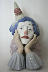 Lladro Porcelain Clown Head Jester Figure With Wood Stand 12 G21f