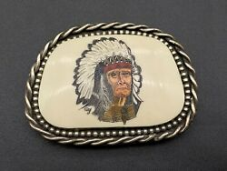 Vintage Doyle Yancey Indian Chief Head Sterling Silver Belt Buckle