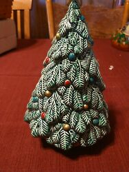 Vintage Ceramic Christmas Tree Small 9.25 Inch One Piece Made In Brazil