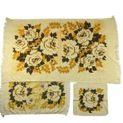Set Of 3 Sears Towel Vintage 70s Yellow Floral Flowers Rose Bath Hand Washcloth