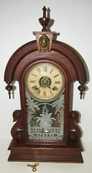 Antique Ansonia Parisian Kitchen Parlor Clock With Alarm 8-day Time/strike
