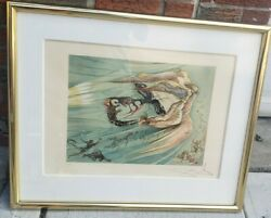 Salvador Dali Angel And Sprits Hand Signed Ea Color Lithograph Art