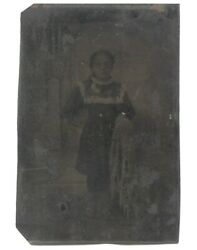 Antique 1/6 Plate Tintype Photograph Of Young Girl Native American Dress