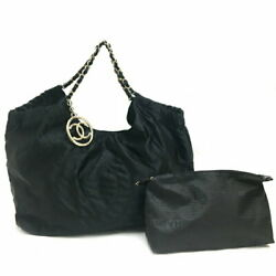 Coco Kabas Gm Chain Shoulder Bag Satin Black With Pouch _64626